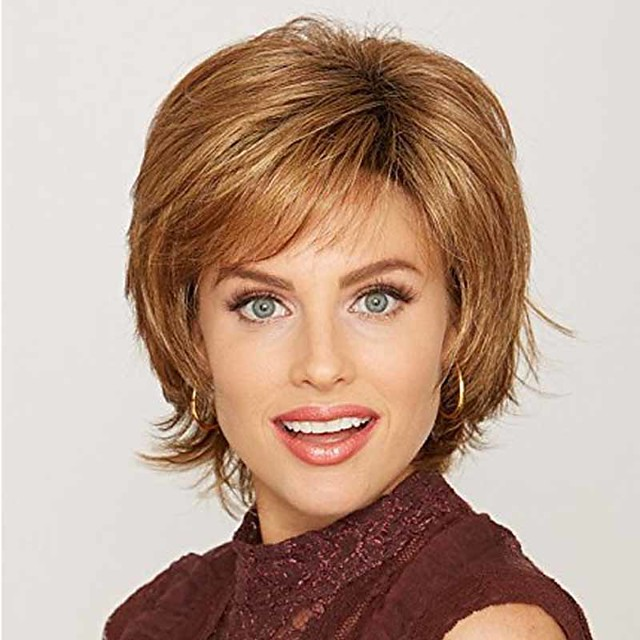 Synthetic Wig Curly Asymmetrical Wig Short Light golden Brown Blonde Synthetic Hair 8 inch Women's Fashionable Design New Design Exquisite Blonde Brown