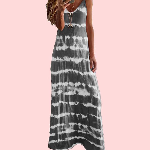 Women's Sundress Maxi long Dress - Sleeveless Print Summer V Neck Sexy Boho Holiday Going out Loose 2020 Wine Blue Purple Blushing Pink Khaki Gray Light Blue S M L XL XXL XXXL XXXXL XXXXXL