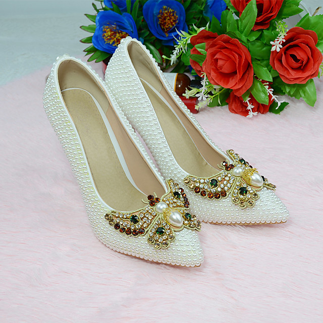 Women's Heels 2020 Stiletto Heel Pointed Toe Wedding Party & Evening Rhinestone Bowknot Pearl PU White
