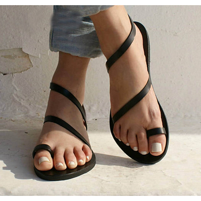 Women's Sandals Flat Sandals Bunion Sandals Summer Flat Heel Open Toe Daily PU White / Black / Gold