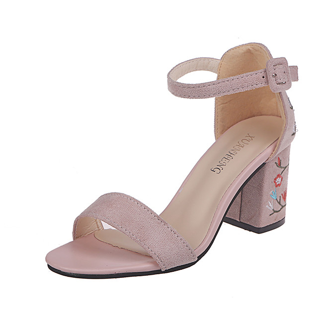 Women's Heels / Sandals 2020 Spring &  Fall / Spring & Summer Chunky Heel Open Toe Vintage Chinoiserie Wedding Daily Faux Leather Black / Dusty Rose