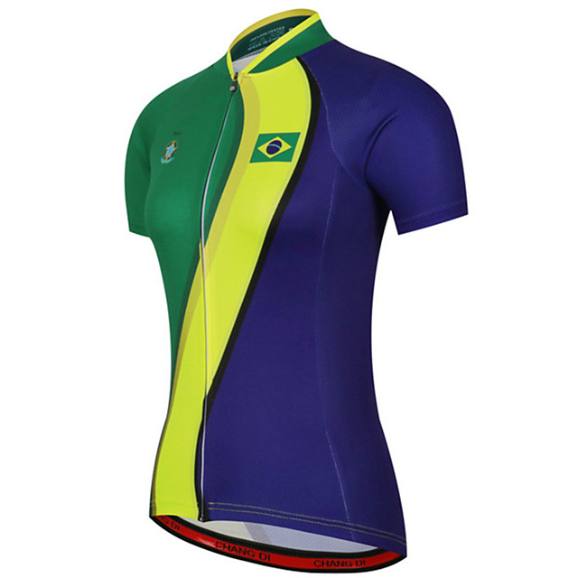 21Grams Women's Short Sleeve Cycling Jersey Spandex Polyester Blue+Green Brazil National Flag Bike Jersey Top Mountain Bike MTB Road Bike Cycling UV Resistant Breathable Quick Dry Sports Clothing
