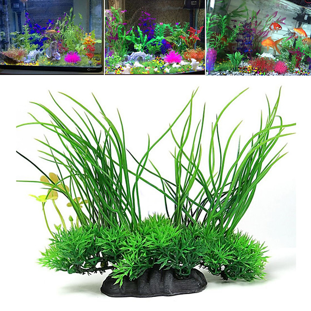 Fish Tank Arquatic Plant Fish Bowl Ornament Waterplant Artificial Plants Green Non-toxic & Tasteless Decoration Plastic One-piece Suit 20*8*16 cm