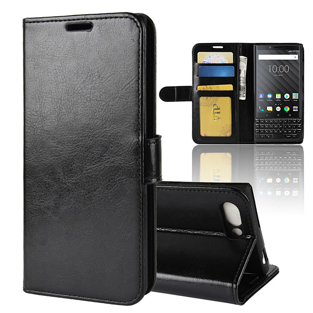 Case For BlackBerry Blackberry Key 2 / BlackBerry Keyone Wallet / Card Holder / Shockproof Full Body Cases Solid Colored PU Leather