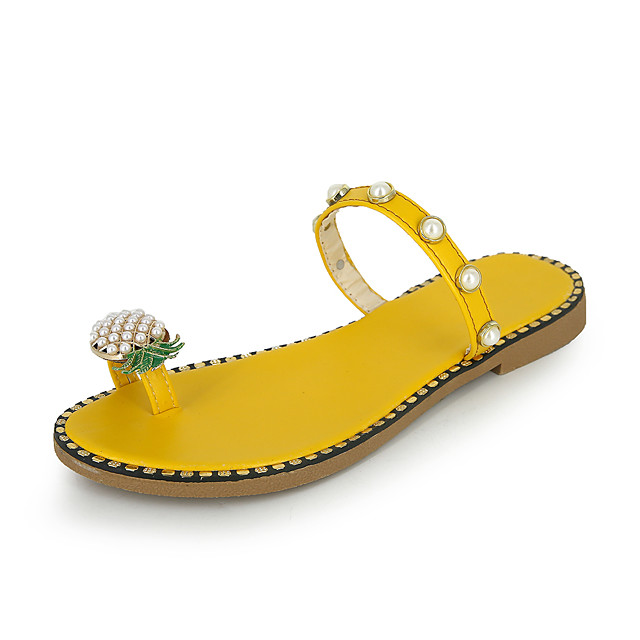 Women's Slippers & Flip-Flops 2020 Spring &  Fall / Spring & Summer Flat Heel Open Toe Sweet Preppy Daily Outdoor Imitation Pearl PU Yellow / Green / Black