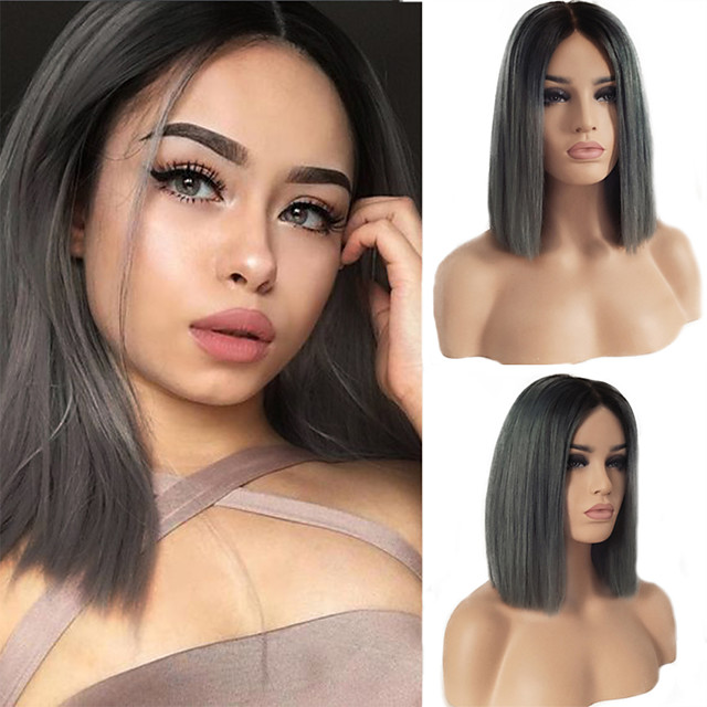 Synthetic Lace Front Wig Straight Short Bob Middle Part Lace Front Wig Ombre Short Ombre Grey Synthetic Hair 10-16 inch Women's Soft Adjustable Party Gray Ombre
