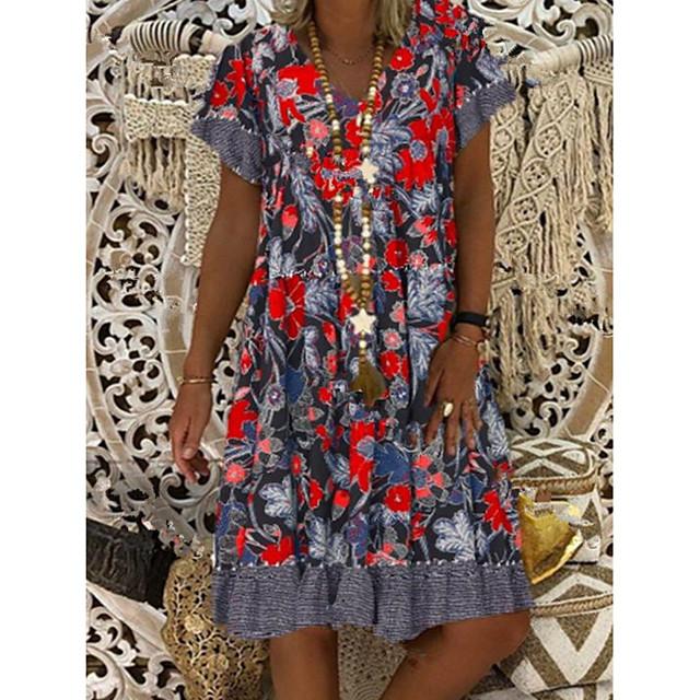 Women's Sheath Dress Knee Length Dress Red Short Sleeve Floral Summer Round Neck Hot Elegant 2021 M L XL XXL 3XL 4XL 5XL