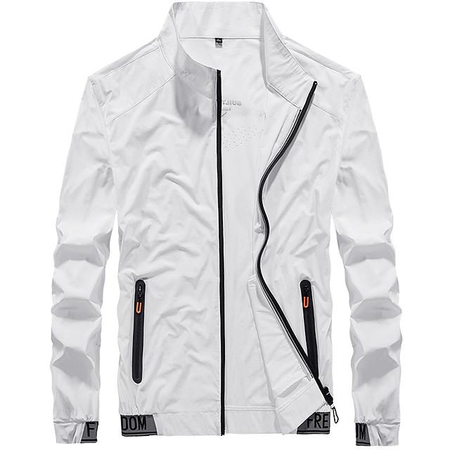 Men's Hiking Skin Jacket Hiking Jacket Summer Outdoor Windproof Sunscreen Breathable Quick Dry Jacket Top Elastane Single Slider Running Hunting Fishing White / Black / Grey / Ultraviolet Resistant