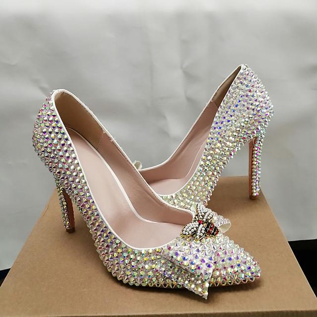 Women's Heels 2020 Stiletto Heel Pointed Toe Wedding Party & Evening Rhinestone Bowknot Pearl PU Rainbow