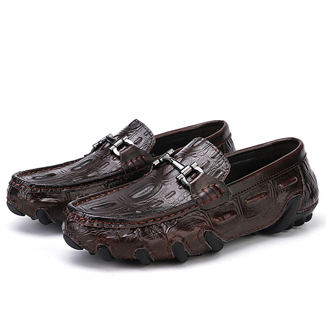Men's Summer Casual Daily Loafers & Slip-Ons PU Non-slipping Black / Brown