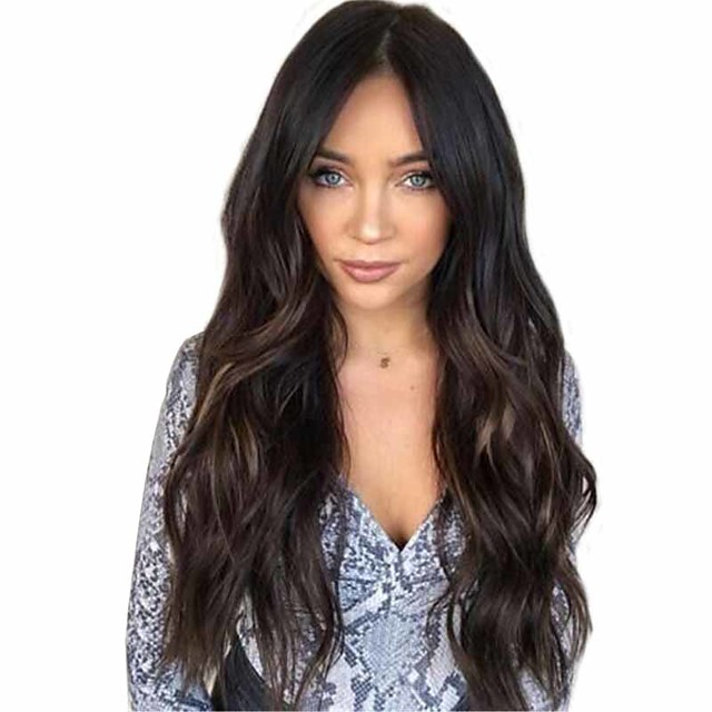 Synthetic Wig Matte Body Wave Middle Part Wig Very Long Natural Black Synthetic Hair 26 inch Women's Highlighted / Balayage Hair Middle Part curling Black