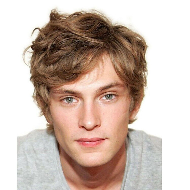 Synthetic Wig Toupees Curly Traditional Layered Haircut Wig Short Brown Synthetic Hair 8 inch Men's Simple Classic Synthetic Brown hairjoy