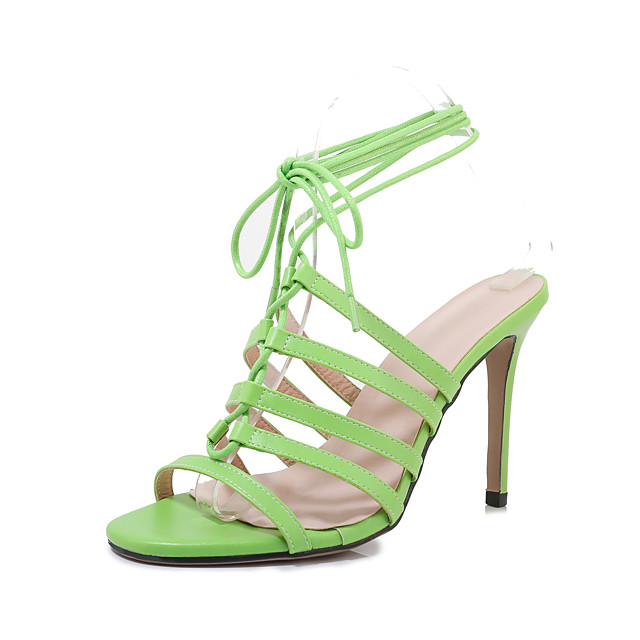 Women's Sandals Spring & Summer Stiletto Heel Open Toe Sexy Minimalism Daily Party & Evening Lace-up Solid Colored PU White / Green