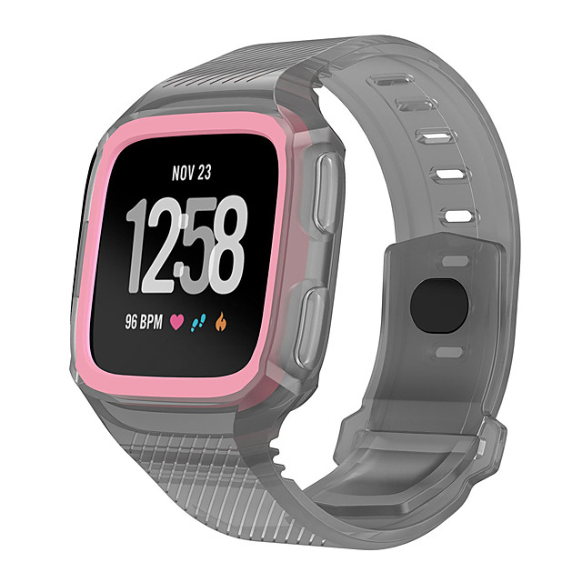 Fitbit Versa Bands Silicone Versa Rugged Wristband with Protective Case Frame Anti-Impact Replacement Bands Quick Release Watch Bands Strap for Fitbit Versa