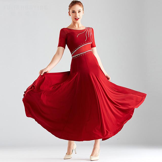 Ballroom Dance Dress Split Joint Crystals / Rhinestones Women's Performance Short Sleeve Crystal Cotton Mesh
