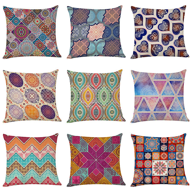9 pcs Linen Pillow Cover, Datura Flowers Geometric Modern Square Traditional Classic