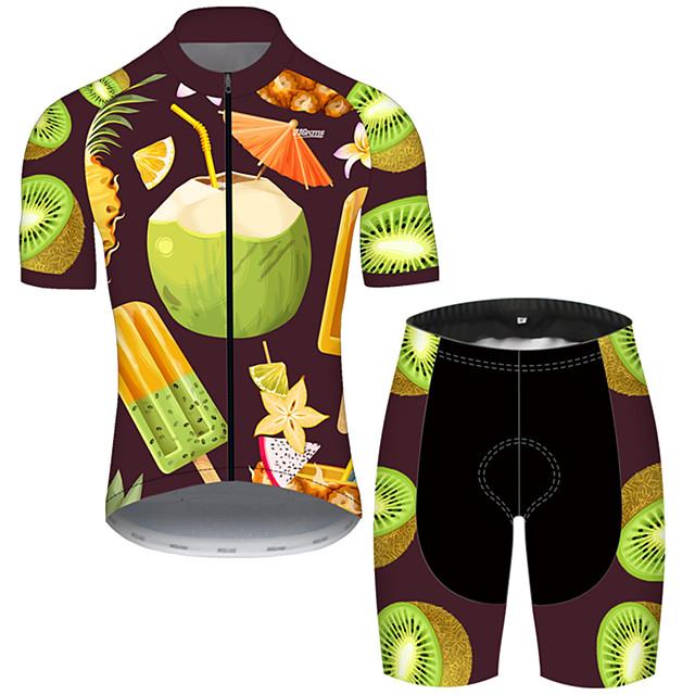 Nuckily Mens Summer Classic Lightweight Short Sleeve Cycling Jersey and 3D Gel Pad Short Set