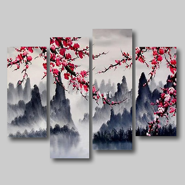 Oil Painting Hand Painted - Abstract Abstract Landscape Comtemporary Modern Stretched Canvas Pink Blossom