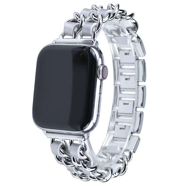 Watch Band for Apple Watch Series 5/4/3/2/1 Stainless Steel Chain With Leather Bracelet Strap