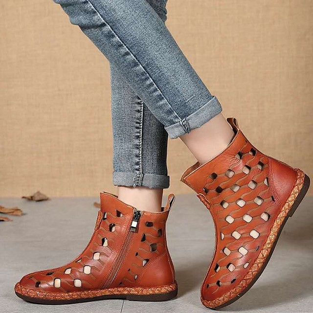 Women's Boots Summer / Fall Flat Heel Round Toe Vintage Daily Outdoor Rhinestone Faux Leather Booties / Ankle Boots Light Brown / Coffee