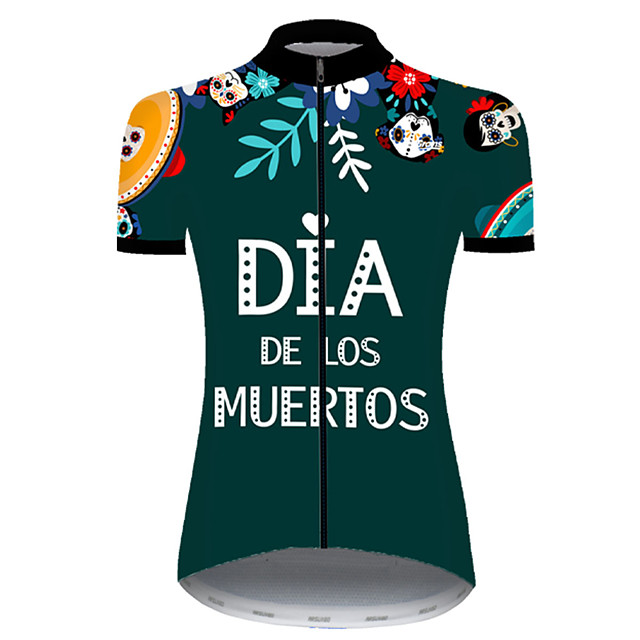 21Grams Women's Short Sleeve Cycling Jersey Nylon Polyester Green / Yellow Skull Floral Botanical Funny Bike Jersey Top Mountain Bike MTB Road Bike Cycling Breathable Quick Dry Ultraviolet Resistant