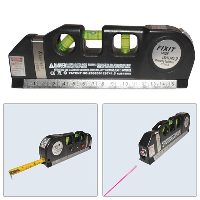 LV-03 Laser Level Horizon Vertical Measure 8FT Aligner Standard and Metric Ruler Multipurpose Measure Level Laser
