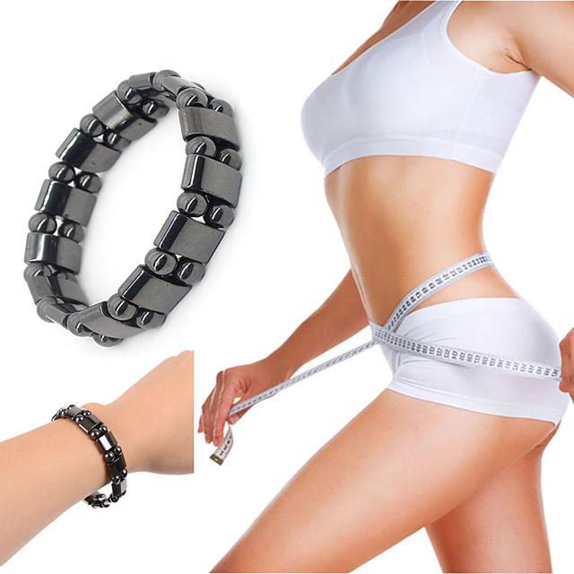 1 Piece Round Black Stone Magnetic Therapy Bracelet Health Care Hematite Stretch Bracelets
