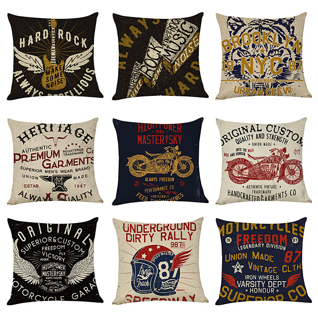 9 pcs Linen Pillow Cover, Hard Rock American Vintage Casual Modern Square Traditional Classic