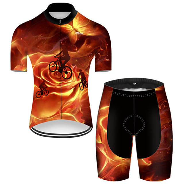 21Grams Men's Short Sleeve Cycling Jersey with Shorts Nylon Polyester Black / Orange 3D Butterfly Gradient Bike Clothing Suit Breathable 3D Pad Quick Dry Ultraviolet Resistant Reflective Strips Sports