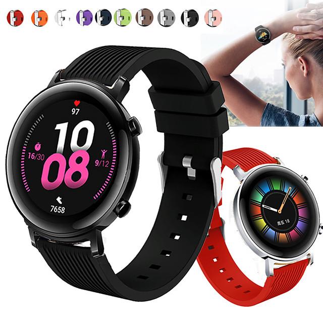 Sport Silicone Wrist Strap Watch Band for Huawei Watch GT2 42mm / Magic Watch 2 42mm / Huawei Watch 2 Replaceable Bracelet Wristband
