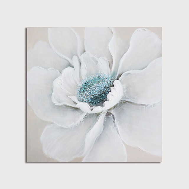 Hand Painted Canvas Oilpainting White Flower Home Decoration with Frame Painting Ready to Hang
