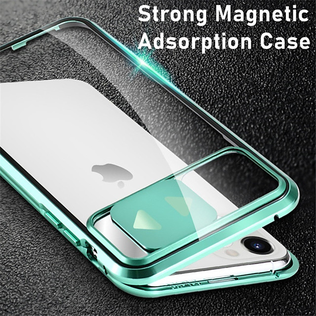 Magnetic Case For iPhone SE 2020 11 11Pro 11Pro Max X XS XR XS Max 8 Plus 8 7 Plus 7 Adsorption Double Sided Case Clear Tempered Glass Metal 360 Protective Cover