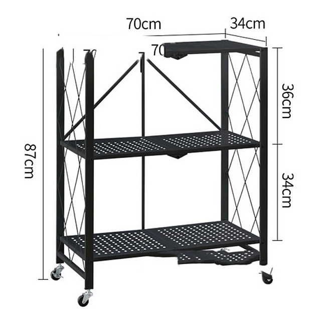 Household Portable Heavy Duty Storage Shelving Double Post Steel Wire Shelf 13.5 x 27.5 x 34 Inch, Aluminum Black Silver