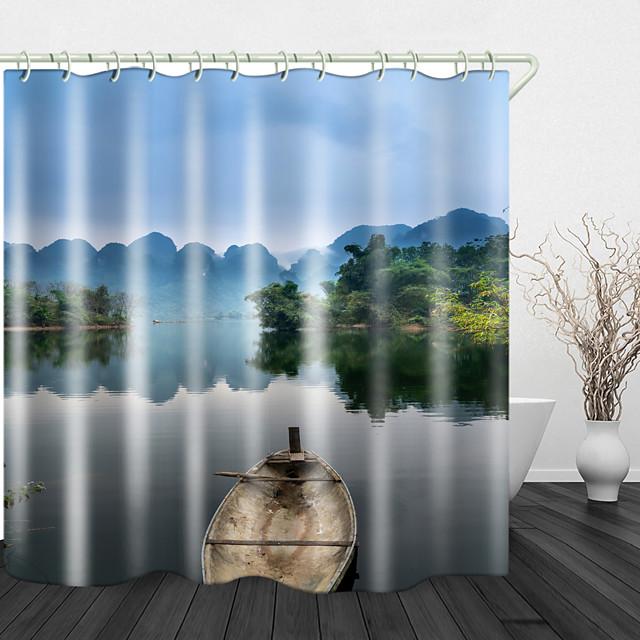Christmas Lights Stars Plank Shower Curtain Liner Waterproof Fabric Bathroom Set