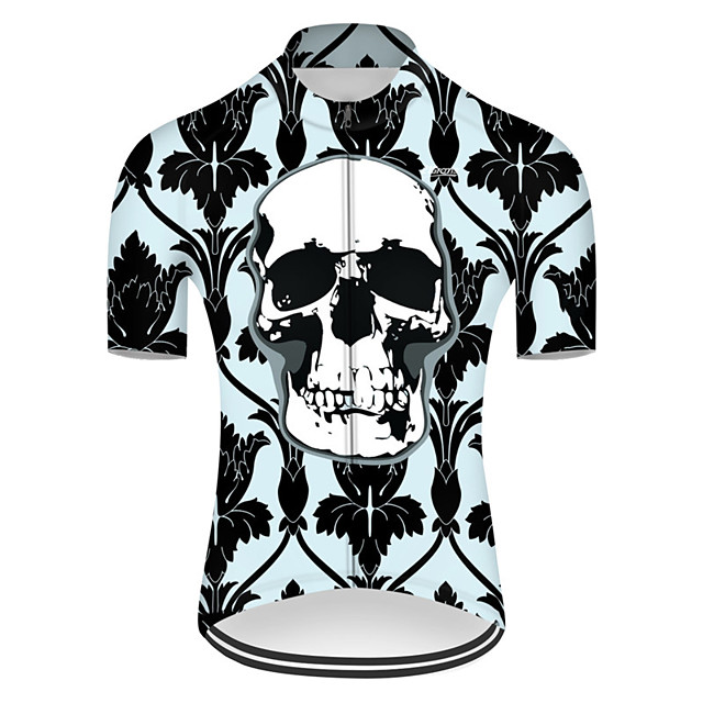 21Grams Men's Short Sleeve Cycling Jersey Nylon Polyester Black / Green Novelty Skull Floral Botanical Bike Jersey Top Mountain Bike MTB Road Bike Cycling Breathable Quick Dry Ultraviolet Resistant