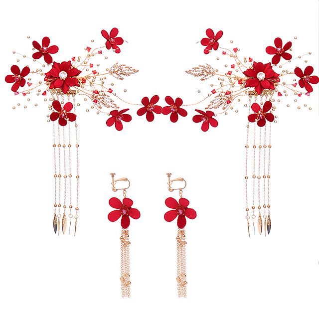 Women's Bridal Jewelry Sets Flower Stylish Earrings Jewelry Red For Wedding Party 1 set