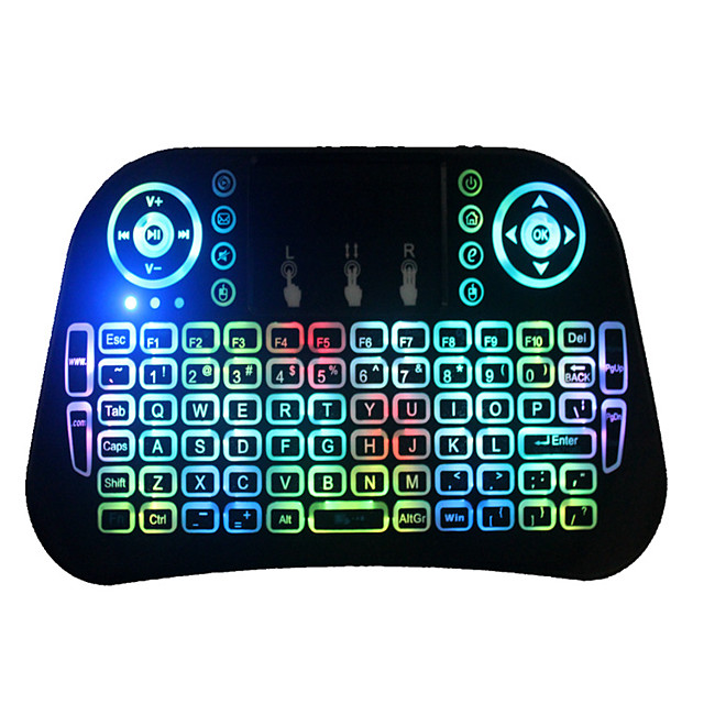i10 Mini Keyboard Touch 2.4 g Wireless Keyboard Air Flying Squirrels Run Colorful Lantern With Touch Panel Backlighting