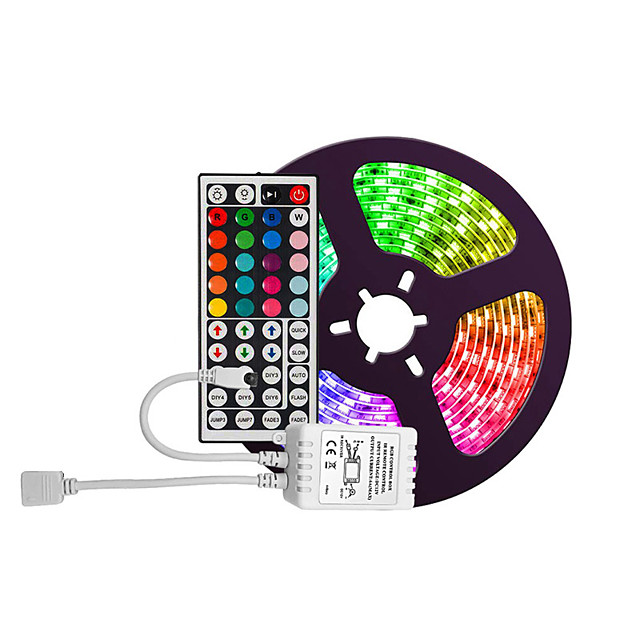 Waterproof 5M 300 2835 8mm Lights LED Strip Lights RGB Tiktok Lights Flexible and IR 44Key Remote Control Linkable Self-adhesive Color-Changing