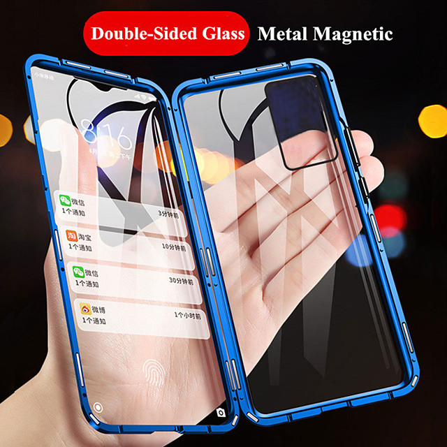 Magnetic Case for Samsung Galaxy A81 A91 A71 A51 A31 A11 A10 S20 S20 Plus S20 Ultra S10 S10E S10 Lite S10 Plus Metal Double Sided Tempered Glass Protective Case Phone Case