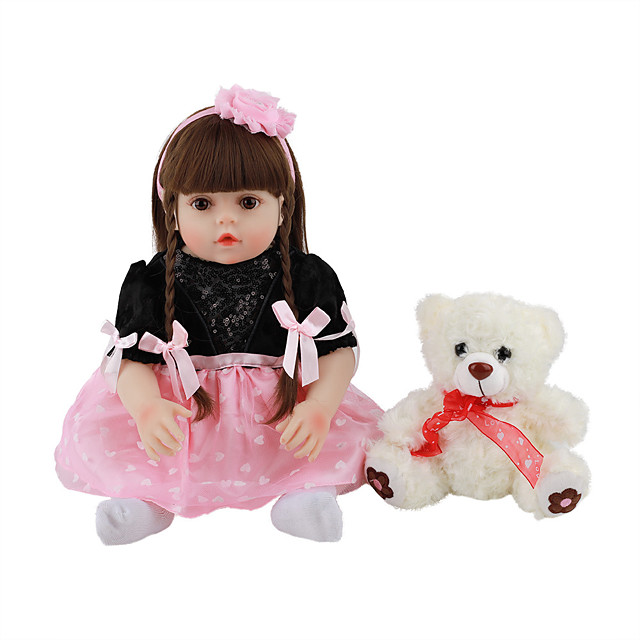 FeelWind 18 inch Reborn Doll Baby & Toddler Toy Reborn Toddler Doll Baby Girl Gift Cute Lovely Parent-Child Interaction Tipped and Sealed Nails Full Body Silicone LV071 with Clothes and Accessories