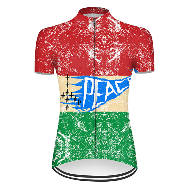 21Grams Women's Short Sleeve Cycling Jersey Nylon Polyester Red / Yellow Patchwork Peace & Love Bike Jersey Top Mountain Bike MTB Road Bike Cycling Breathable Quick Dry Ultraviolet Resistant Sports