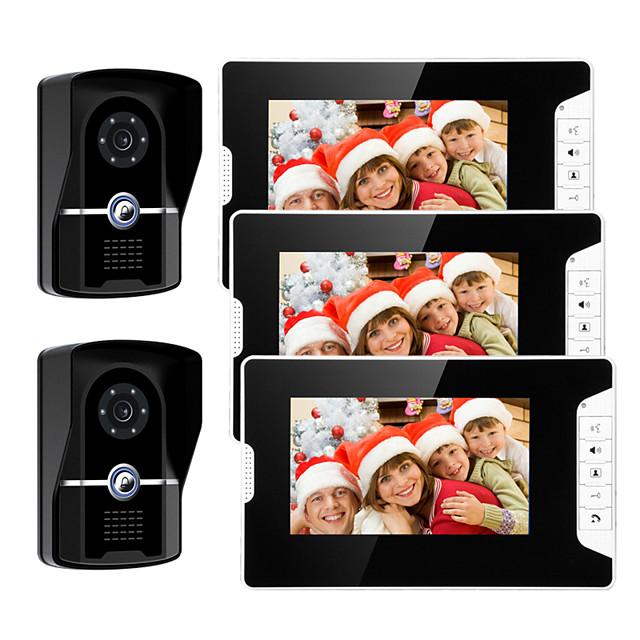 Wired 7 Inch Hands-free 800*480 Pixel Video Doorphone 2 Camera 3 Monitor Video Intercom Waterproof grade IP55