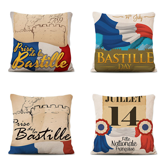 Set of 4 Decoration Home Cushion Cove Bastille Day pillow Sofa Covers 45Cmx45Cm Bed Printed Pillow Case