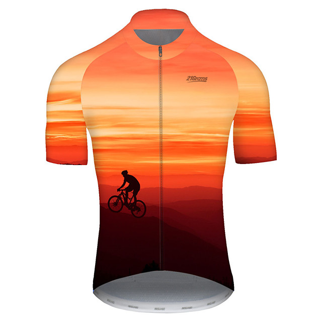 21Grams Men's Short Sleeve Cycling Jersey Nylon Polyester Red / Yellow 3D Gradient Bike Jersey Top Mountain Bike MTB Road Bike Cycling Breathable Quick Dry Ultraviolet Resistant Sports Clothing