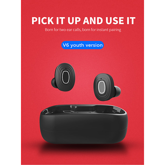 LITBest V6 TWS True Wireless Earbuds Wireless Bluetooth 5.0 Stereo Dual Drivers with Charging Box Waterproof IPX4 Auto Pairing for Mobile Phone