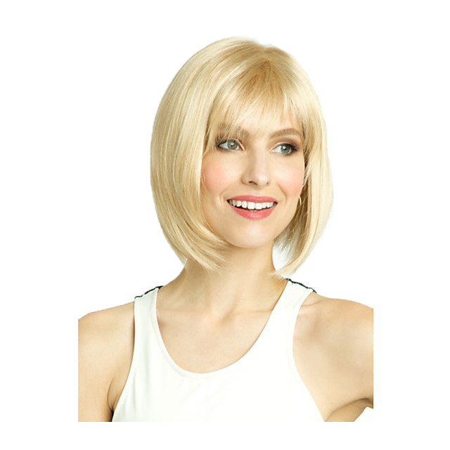 Synthetic Wig Straight Middle Part With Bangs Wig Short Light golden Synthetic Hair 10 inch Women's Fashionable Design Classic Women Blonde