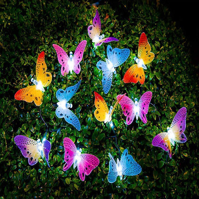 12 Led Solar Powered Butterfly Fiber Optic Fairy Lights Waterproof Christmas Outdoor Garden Holiday Decoration Lights