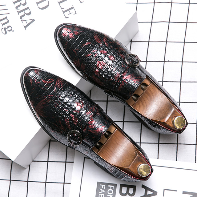 Men's Fall Casual Daily Loafers & Slip-Ons Walking Shoes PU Breathable Non-slipping Wear Proof Black / Red / Blue