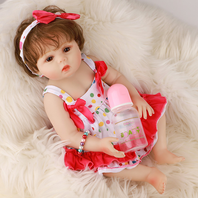 FeelWind 18 inch Reborn Doll Baby & Toddler Toy Reborn Toddler Doll Baby Girl Gift Cute Lovely Parent-Child Interaction Tipped and Sealed Nails Full Body Silicone LV042 with Clothes and Accessories