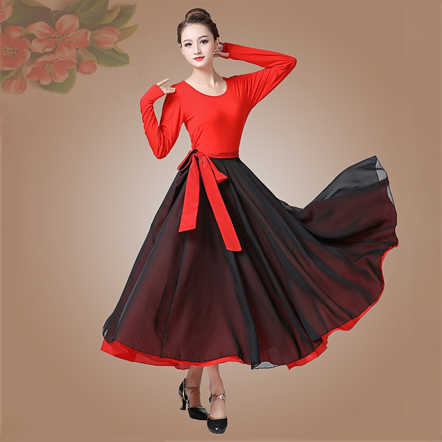 Ballroom Dance Skirts Bandage Women's Performance Daily Wear Long Sleeve High Modal Chiffon